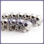 10 Tibet Silver Antique SKULL Big Hole Spacer Bead DIY