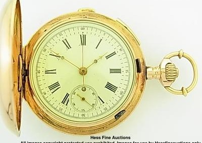 Massive 18k Gold Breitschmid Repeater Chronograph Hunter Diamond Pocket Watch