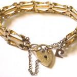 Antique Vintage Gold Pl Gate Link Bracelet With Heart Lock Perfect