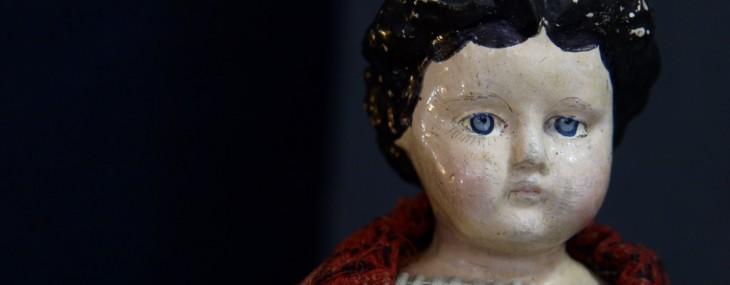Antique Papier Mache Doll Leather Body