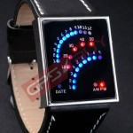 Antique Style 29 Blue Red LED Leather Mens Wrist Watch