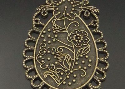Antique Beautiful Glyph Flower Charm Pendant