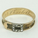 Rare Antique Georgian Gold Rose Cut Diamond Buckle Mourning Ring