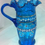 Clear Blue Armenian Serving Pitcher Hand Painted Flowers Gold Accents