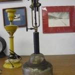 Antique Lantern Metal Primitive Design Double Burner Lamp