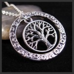 Tree Of Life Oxidized Antique Silver Tone Charm Pendant Necklace