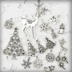 Antique Silver Christmas Charm Pendant