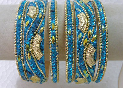 Designer Antique Gold Polish Blue Glitter Work CZ Bangle Set