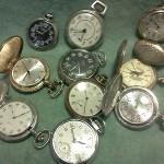 Lot Of 11 Pocket Watchses Vintage Modernind Up Quartz