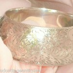 Ultrawide Heavy Antique Sterling Silver Aesthetic Bangle