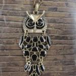 Antique Bronze Swing Enamel Owl Chain Necklace