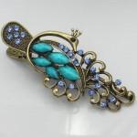 Vogue Beautiful Blue Antique Bronze Rhinestone Crystal Flower Hairpin