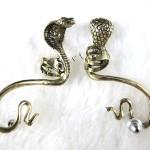 Antique Temptation Cobra Snake Bronze Fashion Bite Ear Cuff Gothic Stud Earrings