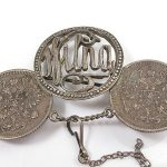 ANTIQUE STERLING SILVER COINS & NAME CREATED BROOCH