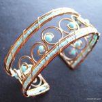 ANTIQUE Turquoise Beads Polished Stone Cuff Bracelet Swirl Gold Tone WOW