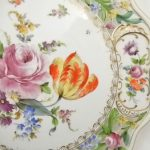Antique Chateau Dresden Floral 11″ Service Plate Pierced iculated Scallop Rim