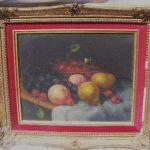 Antique Velvet Framed Signed Oil On Canvase Still Fruit
