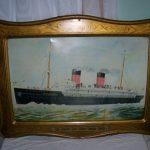 Large Antique c.1905 La Provence French Line Passenger Ship Titanic Metal Sign