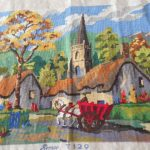 VINTAGE COMPLETED SEMCO TAPESTRY COUNTRY VILLAGE SUIT CUSHION FRONT FRAME CRAFTS