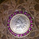 Antique Estate 8.9 G Gold Indian Coin 1898 Medallion Charm With pink Stones