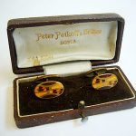 ANTIQUE RARE OLD BOX CUFFLINKS CUFFLINKS ENAMEL GUILLOCHE GERMAN JEWEL 1920's