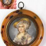 SIGNED Hoi Antique Miniature Painting French Rococo Lady faux Shell Frame 2nd/2