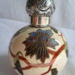 ANTIQUE PORCELAIN ENAMEL & GILT SCENT/PERPUME BOTTLE W SOLID SILVER TOP 1897