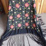 Antique Flapper Era Embroidered Flowers & Black  Fringe Silk Piano Shawl