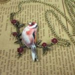 Antique Bronze Elegant Bird Flower twig Necklace.