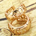 Antique 9K Real Gold Filled Womens Hollow Hoop Earrings