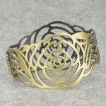 Rare Antique Hollow Smoky Carved  Stch Charm Wrist Bangle Bracelet Sj1780A