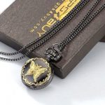 Fashion gold butterfly carved lady XMAS GIFT necklace quartz pocket watch box