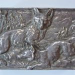 Antique c. 1900 Victorian Silver Over Bronze Cigate Box with Foxes in Woods