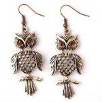 Fashion Vintage&Antique Style Crystal Owl Shape Dangle Earrings Jewelry