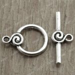 50pcs Antique Silver Ring Bar & Ring Toggle TS2241