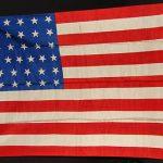 "37 Star American Flag  Original Antique  Printed Silk  35 "" by 24 ""  186777"