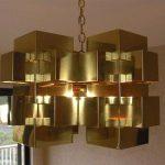 C. Jere Mid Century Modern Brass Cubist Chandelier