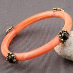 Copper Resin Black Agate Bead Inlay Vintage Bangle Bracelet Antique Tibetan