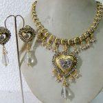 CZ Stone and Bridal White Stone Antique Polish Jewel Set