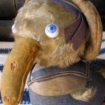 EXTREMELY RARE ANTIQUE VINTAGE FELT AND MOHAIR CHARACTER DUCK
