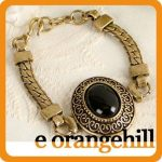 Black Onyx Gemstone Antique Gold GP Vintage ST Bracelet gi346