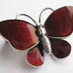 Vtg Danish Modernist Sterling Silver Red Guilloche Enamel Butterfly Pin Denmark