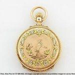 Antique Stunning Florida Multicolor 14k Gold Box Hinge Pocket Watch