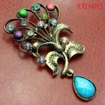 Splendid Colorful Crystal Antique Bronze Brooch Free shipping AX0483