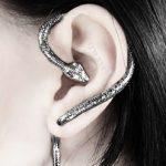 Antique Silver Color Snake Bite Ear Cuff Serpent Wrap Earring