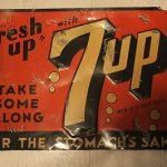 Vintage Antique 1940s 7UP SODA For Stomach's Sake Tin Sign Fresh Up Advertising