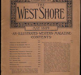 Antique THE WEST SHORE magazine 1889 Vancouver BC Oregon WA ID history railroad