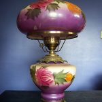 Antique Victorian Style Gone w/t Wind Hand Painted Electric Oil Lamp Glass Brass
