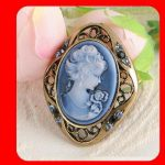 Crystal CAMEO Antique Gold GP Pin Brooch & pendant for necklace Blue N1549