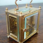 UNUSUAL SQUARE FRENCH ANTIQUE 10 day 5 PANEL BRASS CARRIAGE CLOCK